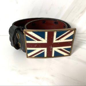 Lucky Brand British Flag Black Leather Belt 34
